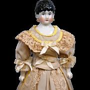 Lovely Antique China Lady c.1870 w/Presentation Silk Ensemble w/Antique Lace!