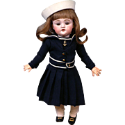 """12.5"""" Adorable Kestner 143 Character Girl Dressed In Maritime Ensemble"""