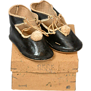 SALE Once in a Lifetime RARE Antique German OilCloth Size 10 Shoes w/Original Box