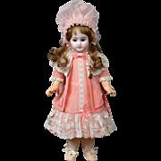 """Pale Blue-Eyed Fleischmann & Bloedel French Antique 15.5"""" Bisque Doll w/Human Hair Wig"""