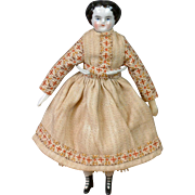 "RARE All Original 6"" DollHouse China Doll with Four-Strap Bootines!"