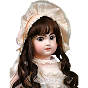 "Fabulous 24"" Closed Mouth Tete Jumeau Bebe With Stunning Dark Eyes!"