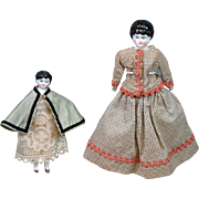 "Lovely Pair Early Dollhouse Chinas 5"" & 7.5"" c.1880-1890 -- Great For Cabinet!"