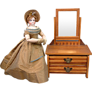 "Excellent Antique Pine Vanity with Accessories 19"" Height for Fashion Doll Scenery"