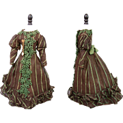 "Superb Cotton and Silk Ball Gown c. 1880 For 17-18.5"" French Fashion Poupee ..."