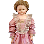 "Exquisite RARE BOOTs Wax Over Papier Mache Doll 27"" w/RARE Blue Sleep Eyes!"
