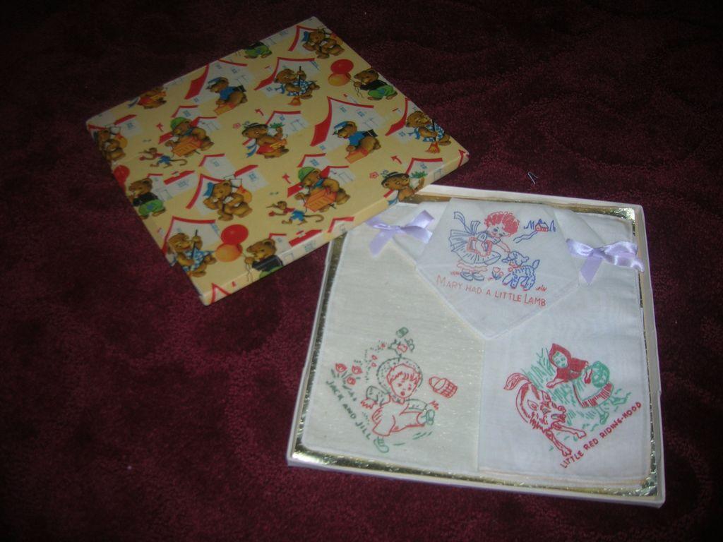 Vintage Boxed Nursery Rhyme Child's Hankies Set of 3 MIB