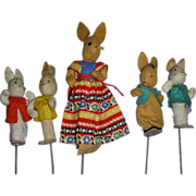 SALE Vintage German BAPS Puppets of 5 Dolls of Peter Rabbit and Family