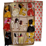 Vintage Boxed Chenille Dogs! Lot of 12 pieces!