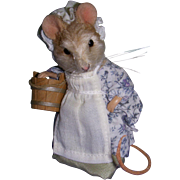 "SALE MIB R. John Wright ""Little Maid, Pretty Maid"" Mouse from the Mother Goose Serie"