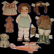"1932 Vintage Dolly Dingle Paper Doll Set ""World of Flight"" by Drayton"