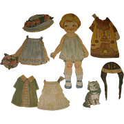 "1924 Vintage Dolly Dingle Paper Doll Set ""Little Friend"" by Drayton"