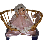Vintage Compo Baby Doll in Basket All Original!