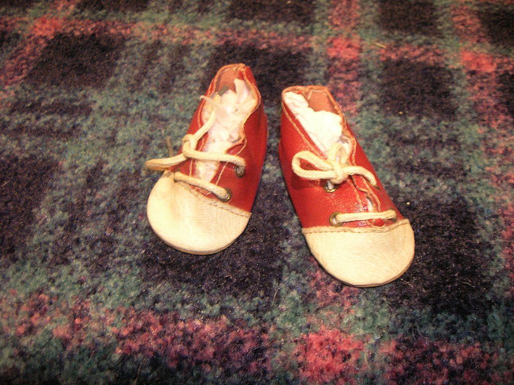 Vintage Red & White Saddle Tie Doll Shoes