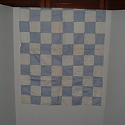 """Vintage Blue and White Coverlet /Quilt  21"""" by 30"""""""