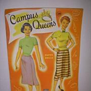 """Vintage """"Campus Queen"""" Uncut Paper Doll Set !"""