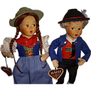 "Vintage Ethic Pair ""Baitz"" Austrian Dolls All Original!"