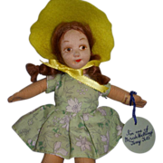 """Vintage Cloth Norah Wellings """"Tiny Tots"""" Doll with Hand Tag & Label!"""