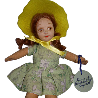 "Vintage Cloth Norah Wellings ""Tiny Tots"" Doll with Hand Tag & Label!"