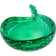 SALE PENDING Vintage Archimede Seguso Green MURANO Cased Bubble Glass SHELL BOWL