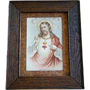Antique Religious Framed Print, SACRED HEART OF JESUS, Cherubs, Pyrography