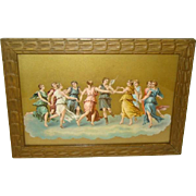 Gorgeous Antique COLOR LITHOGRAPH Framed Print, DANCING CLASSICAL WOMEN, Grecian