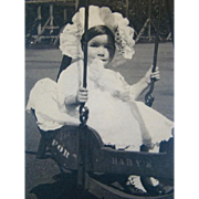Wonderful Antique CABINET PHOTOGRAPH, Baby in Wood Swing, HUGE BONNET