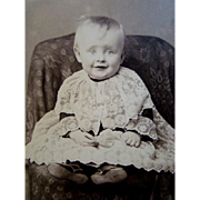 Antique CDV Cabinet PHOTOGRAPH, Beautiful Baby Covered in FRENCH LACE