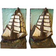 Wonderful Old Hubley CLIPPER SHIP Nautical Cast Iron BOOKENDS, Polychrome Paint