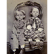 Antique CDV PHOTOGRAPH, Young Children in Beautiful Clothing, Victorian Chair