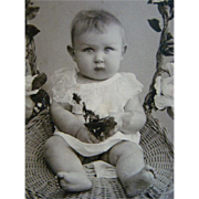 Antique CDV PHOTOGRAPH, Adorable Baby Stuffed in a Rose Trimmed Basket