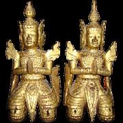 2 Antique/Vintage Carved Wood Thai Buddist TEPPANOM Temple Kneeling Angel Statue