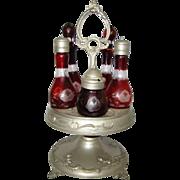 Antique BOHEMIAN Oxblood RUBY Etched Cut Clear Glass CASTOR CONDIMENT CRUET Set