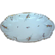 "Large Antique 15-5/8"" LIMOGES ELITE Porcelain SERVING Platter BOWL, Pink & Yellow Roses"