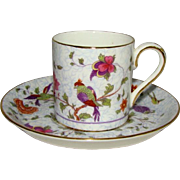 Vintage CROWN STAFFORDSHIRE Demitasse CUP & SAUCER Bird of Paradise Chintz F8393