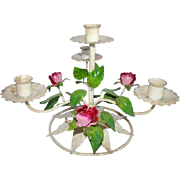 Vintage TOLE CANDLESTICK, Painted Pink ROSES, Italian Toleware Chic Shabby