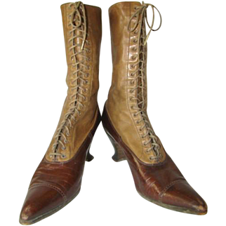 Antique Womens 2-Tone LEATHER Spat, High-Top LACE FRONT SHOES BOOTS