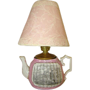 SOLD Antique Miniature German Porcelain PINK TEAPOT LAMP, Pendennis Castle, England