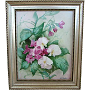 Gorgeous Vintage Floral OIL PAINTING on Porcelain, SWEET PEAS, Signed SETSUKO