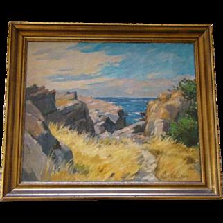 Vintage Framed OIL PAINTING By Scandinavian Artist AKSEL P. KNUDSEN 1903-1992