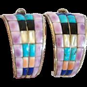 Large Vintage Sterling Pierced 1/2 Hoop INLAID EARRINGS, Signed Native American