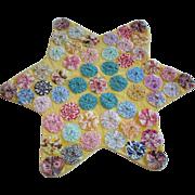 Adorable Vintage Yellow Star PILLOW COVER, Yo Yo Pastel Quilt Decoration