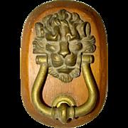 Heavy Bronze Brass Antique LION HEAD DOOR KNOCKER, Wood Mount, Struck Plate