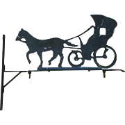 Vintage PAINTED METAL Horse & Buggy SIGN & BRACKET HANGER