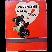 Vintage 1937 Novelty OVERSIZED MATCHES Match Book, Valentine Greetings, Hallmark
