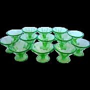 11 Vintage FOSTORIA Vaseline Green Glass SHERBET Dessert CUPS or DISHES