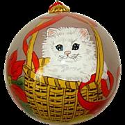 Vintage Hand Blown Reverse Painted KITTEN in BASKET Glass Ornament, BILL YEE ASSOC.