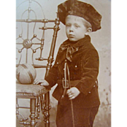Antique CDV PHOTOGRAPH, Adorable Little Boy in VELVET SUIT, Ball & Whip Toy