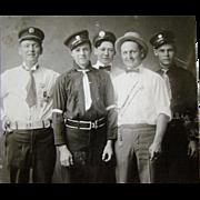 Antique 1916 Occupational PHOTOGRAPH Postcard, Group Firemen in Uniforms