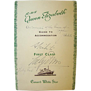 1953 RMS QUEEN ELIZABETH 1st Class Guide, Prince AKIHITO & LILY PONS Autographs